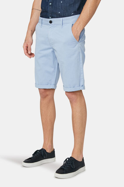 Heren long fit chino short Lichtblauw