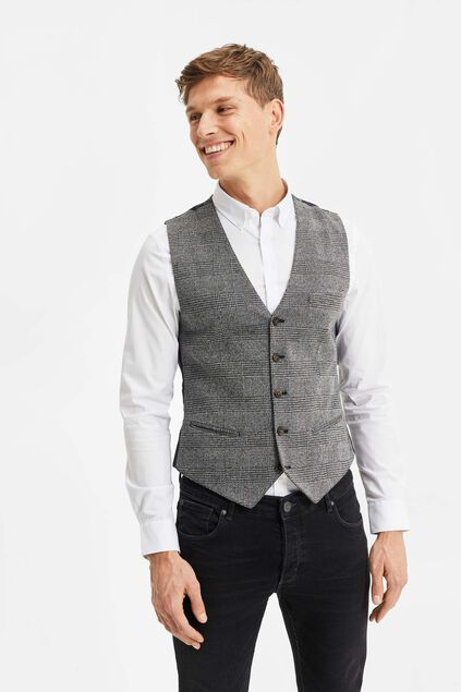 Gilet slim fit à carreaux homme Gris