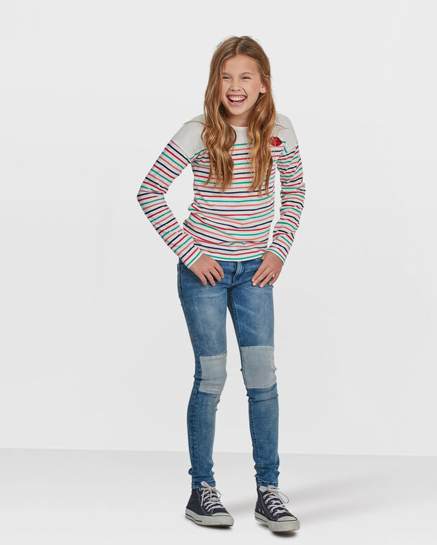 MEISJES STRIPED DESSIN SHIRT Wit
