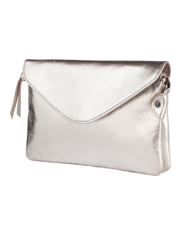 DAMES SHINY LEATHER TAS Zilver