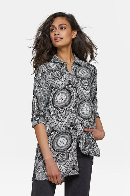 Dames grafisch dessin blouse Wit