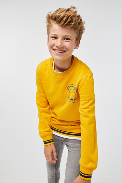 Jongens geprinte sweater Felgeel