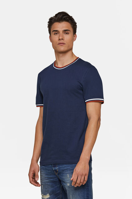 Heren sporty stripe T-shirt Marineblauw