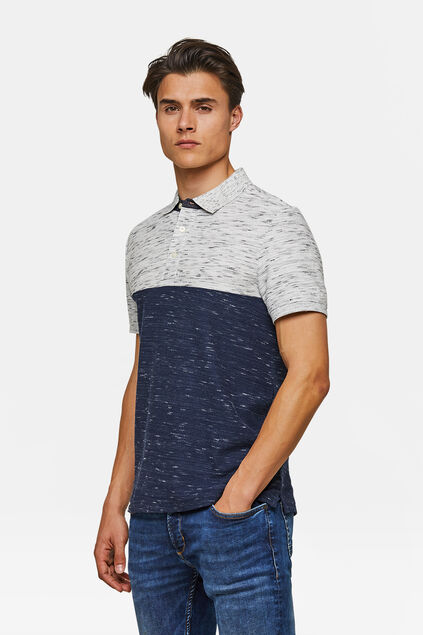 Heren colourblock polo Blauw