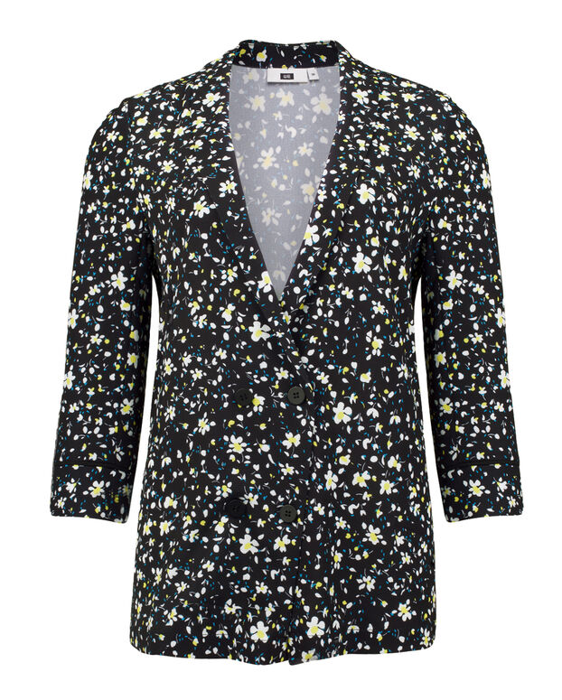 DAMES FLOWER PRINTED BLAZER BLOUSE Zwart