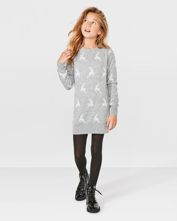 ROBE KNITTED REINDEER FILLE Gris clair