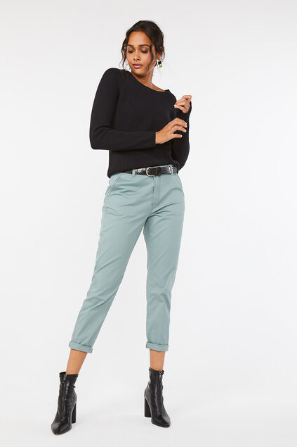 Chino regular fit femme Vert gris