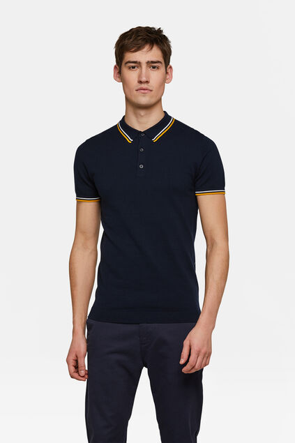Heren knit polo Marineblauw