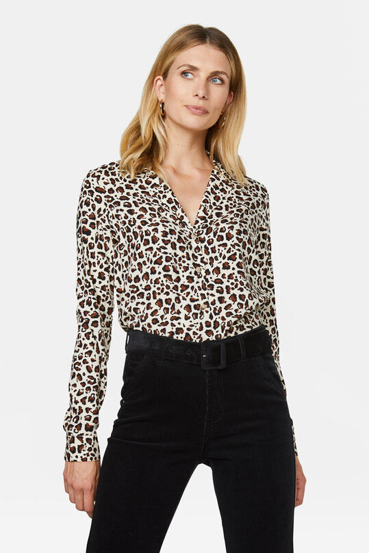 Dames blouse met korte reverskraag All-over print