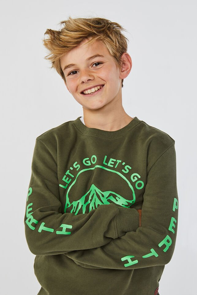 Jongens geprinte sweater Legergroen