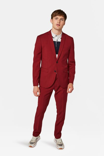 Heren slim fit blazer Dali Bordeauxrood
