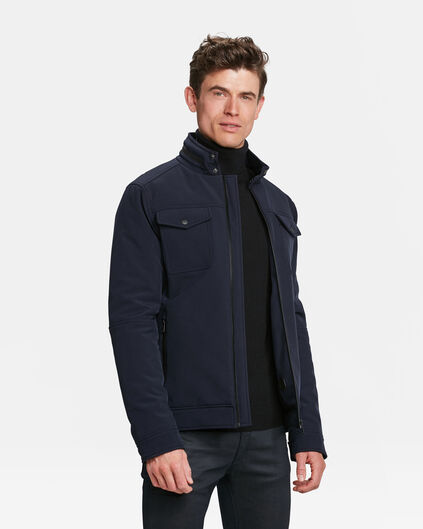 HEREN WATER RESISTANT SOFTSHELL JACKET Marineblauw