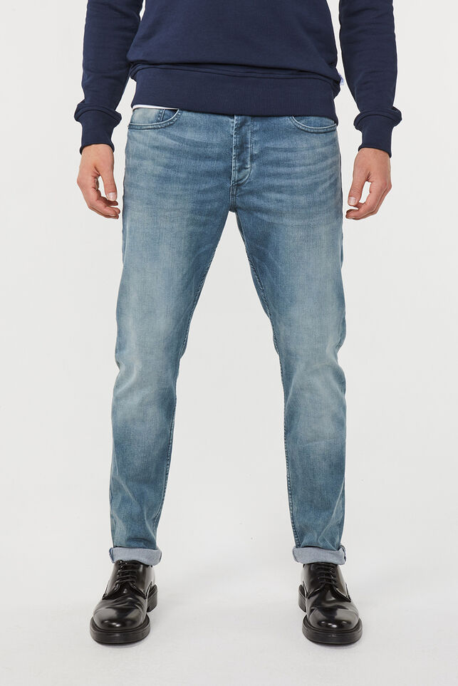 Heren skinny tapered super stretch jeans Grijsblauw
