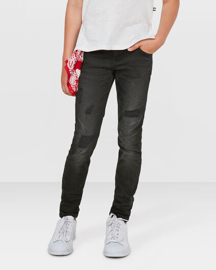 MEISJES SKINNY FIT POWER STRETCH REPAIR JEANS Zwart