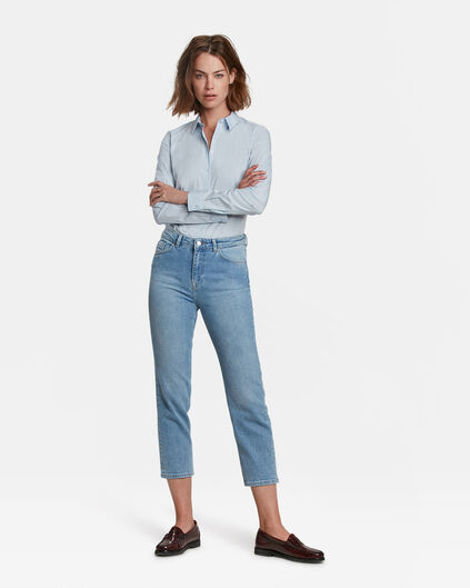 DAMES HIGH RISE STRAIGHT LEG CROPPED JEANS Lichtblauw
