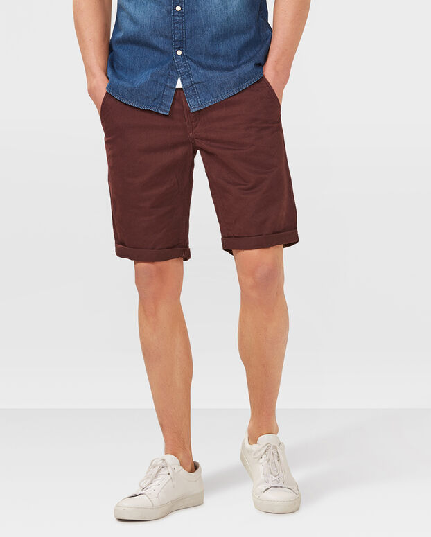 HEREN REGULAR FIT CHINO SHORT Bordeauxrood