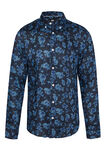 Heren slim fit overhemd van 100% linnen, All-over print