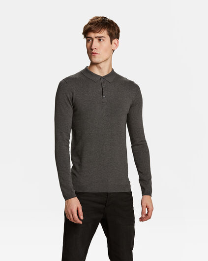 Pull col polo homme Gris