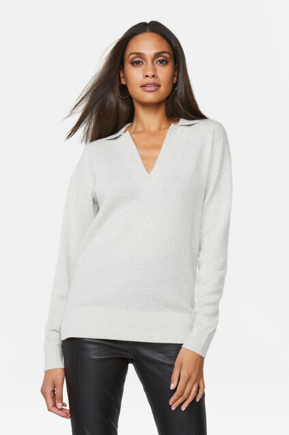 Pull polo cachemire femme Gris