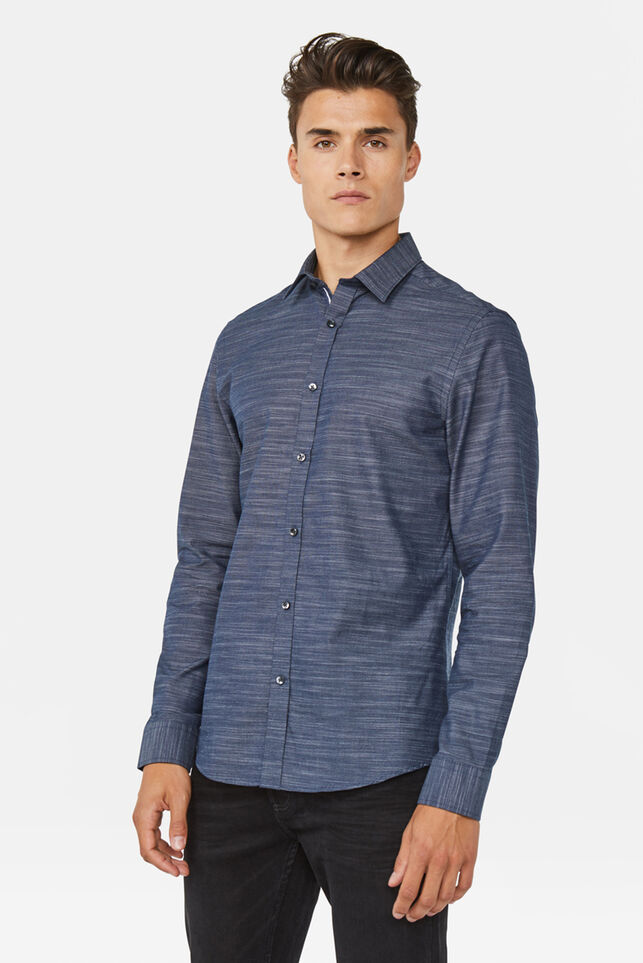 Heren Slim fit overhemd Marineblauw