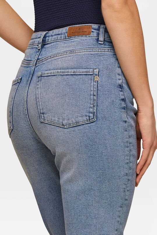 Dames high rise taperd leg comfort stretch jeans Blauw