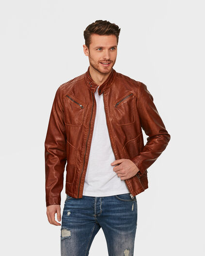 HEREN LEATHER LOOK BIKERJACKET Cognac