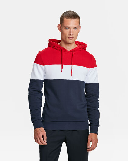 HEREN COLOUR BLOCK CAPUCHON SWEATER Marineblauw