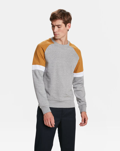 HEREN COLOURBLOCK SWEATER Lichtgrijs gemeleerd