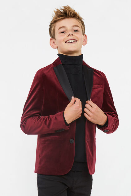 Jongens regular fit blazer Rood