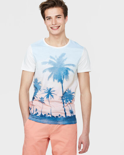 HEREN SUNSET PRINT T-SHIRT Wit