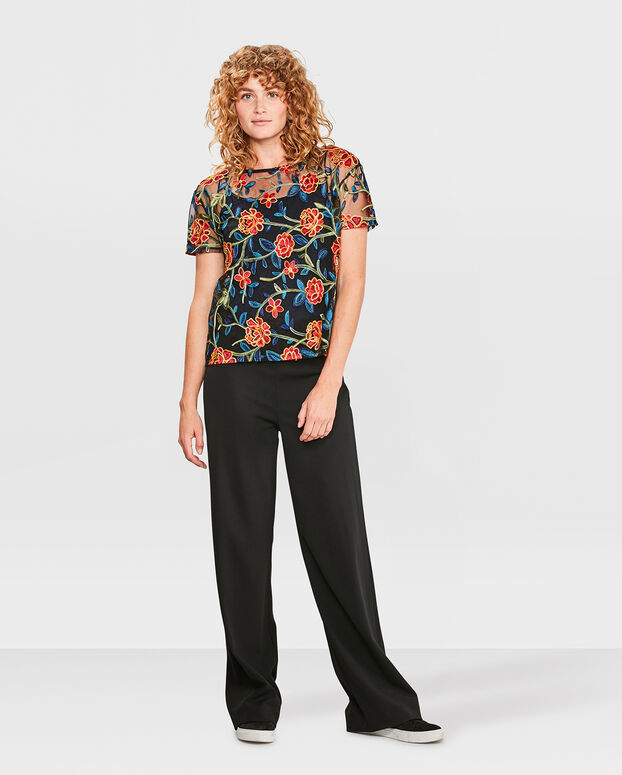 TOP EMBROIDERED FLOWER FEMME Noir
