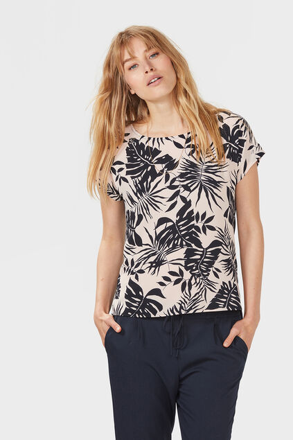 DAMES LEAVES PRINT TOP Roze