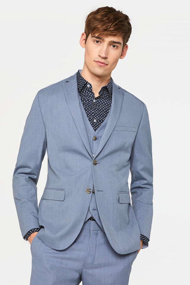 Heren slim fit blazer Dali met stretch IJsblauw