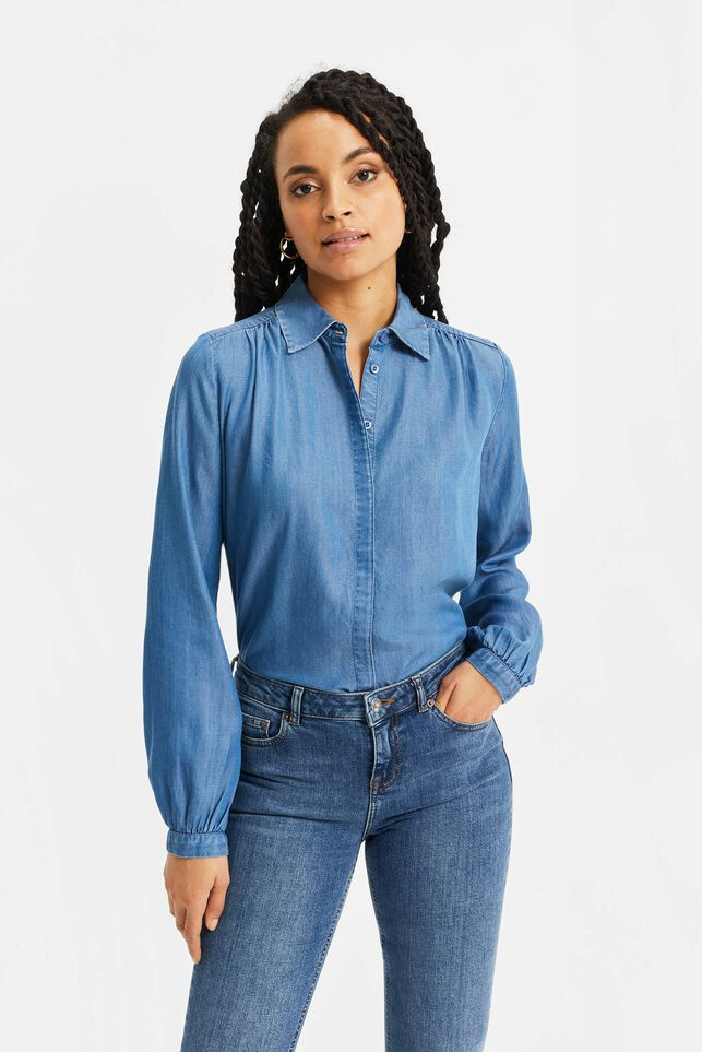 Dames denimblouse met coating Blauw