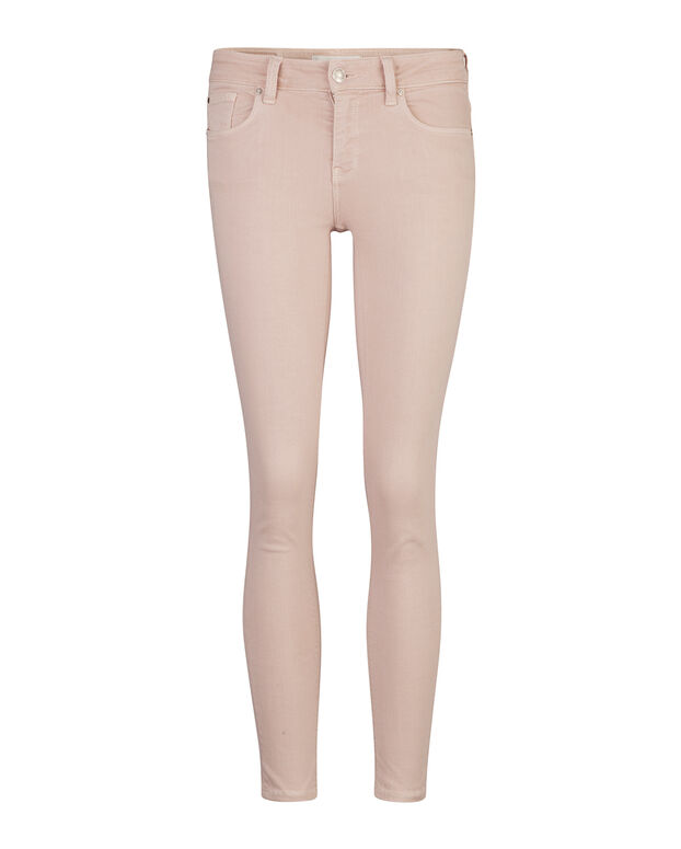DAMES SKINNY FIT HIGH STRETCH CROPPED COLOURED BROEK Lichtroze