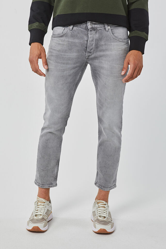Mid rise slim tapered comfort stretch jeans homme Gris clair