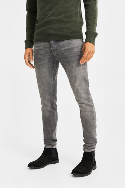 Heren skinny fit jog denim jeans Grijs
