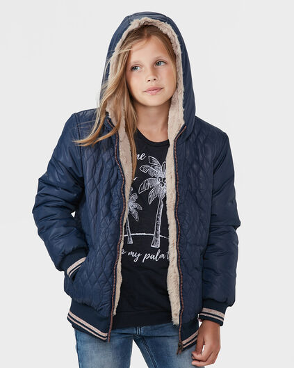 BOMBER REVERSIBLE HOODED PUFFER FILLE Bleu