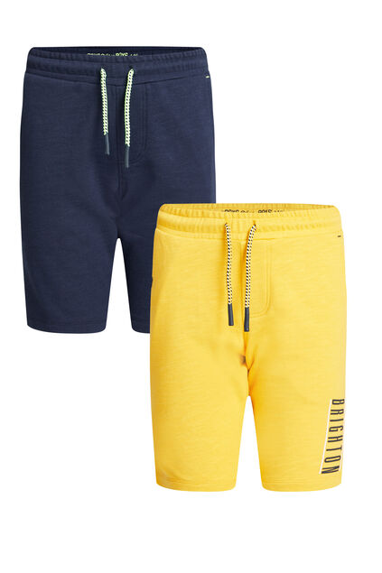 Short de jogging slim fit garçon, pack de 2 Jaune