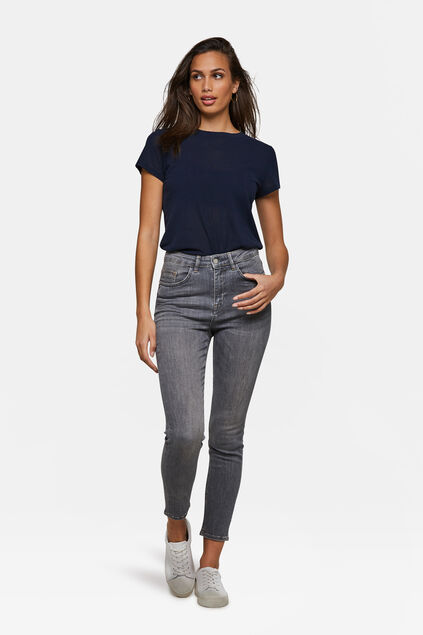 Dames high rise skinny cropped jeans Lichtblauw