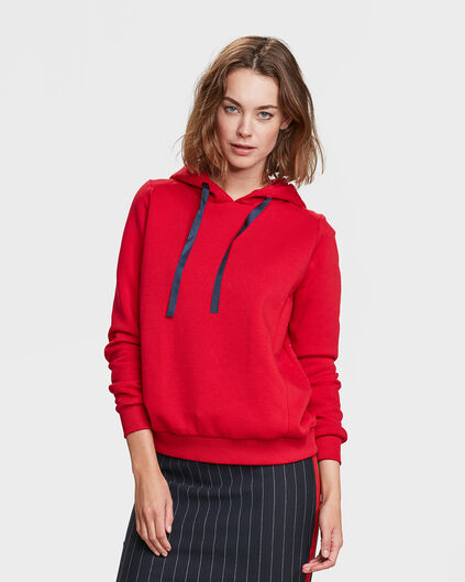 DAMES REGULAR FIT CAPUCHON SWEATER Rood