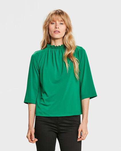 DAMES SMOCK NECK TOP Groen