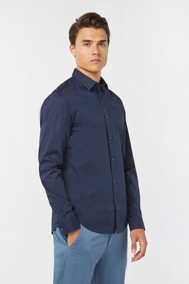 Heren slim fit stretch overhemd Marineblauw