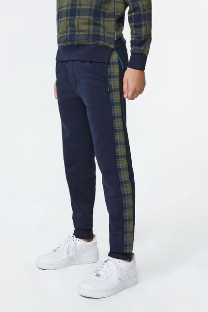 Pantalon sweat check stripe garçon Bleu marine