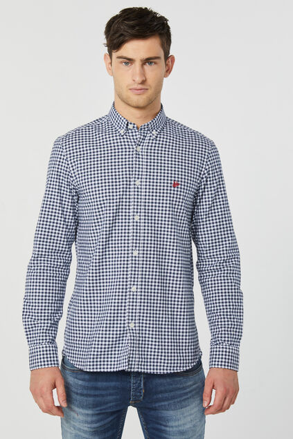 Heren slim fit Oxford geruit overhemd Indigo