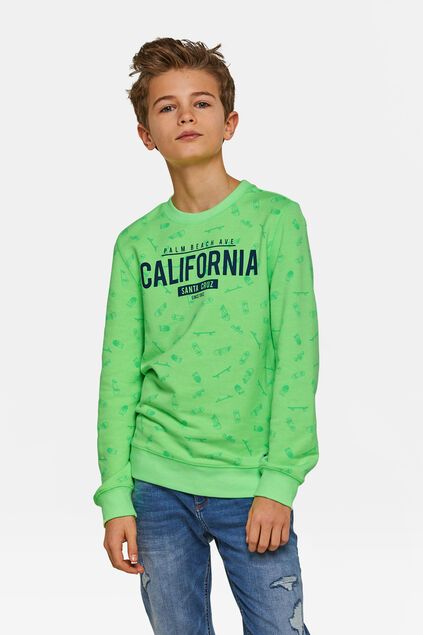 Jongens California print sweater Lichtgroen