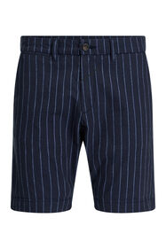 Heren regular fit chino short met krijtstreep_Heren regular fit chino short met krijtstreep, Donkerblauw