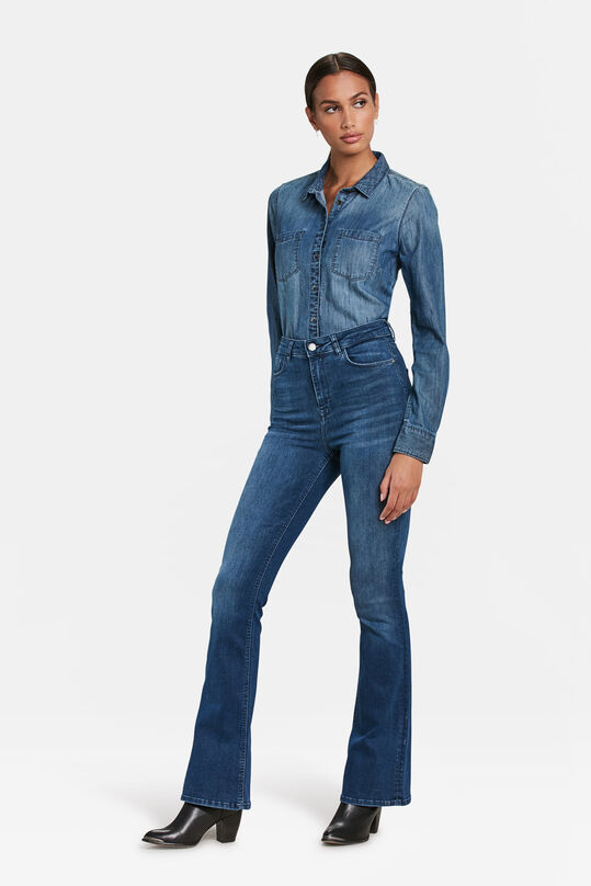 DAMES HIGH RISE FLARE HIGH STRETCH JEANS Blauw