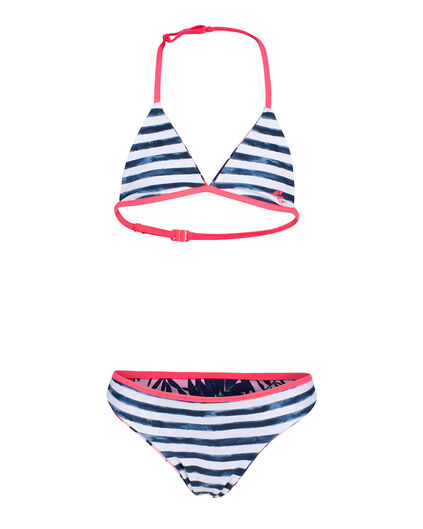 BIKINI FLOWER STRIPE REVERSIBLE FILLE Rose