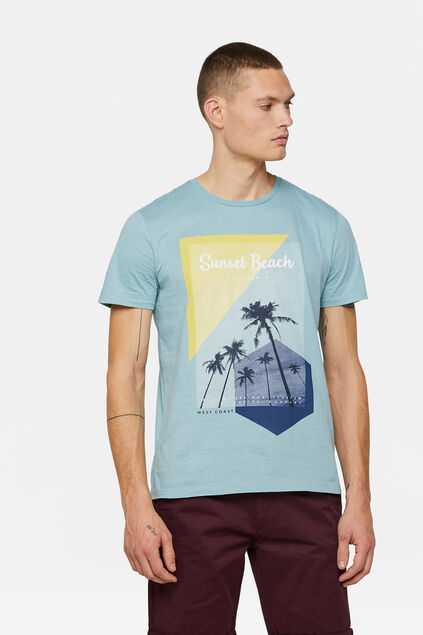 T-shirt sunset beach print homme Bleu eclair